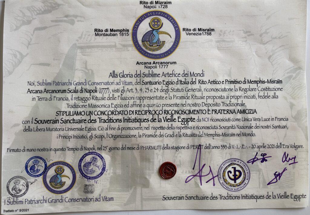 Trattato con il Souverain Sanctuaire des Traditions Initiatiques de la Vielle Egypte